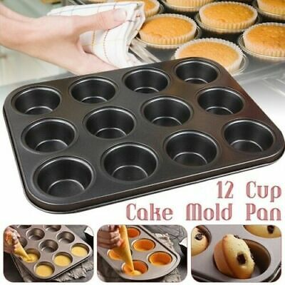 £3.99 • Buy 12 Cup Pan Muffin Cupcake Tray Non Stick Moulds Baking Trays Bake Tins