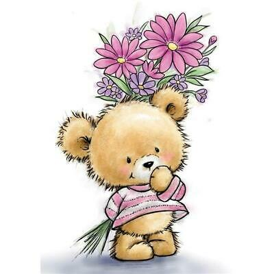 New Wild Rose Studio Rubber Stamp Teddy Bear W Flowers Clear Cling Free USA Ship • 9.08£