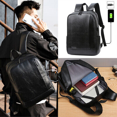 Mens PU Leather Backpack Rucksack School Travel Laptop Bag With USB Charge Port • 13.10£