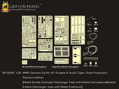 Griffon 1/35 #BPL35035 Tiger I Early Production Detail Up Set For Dragon • 57.97£