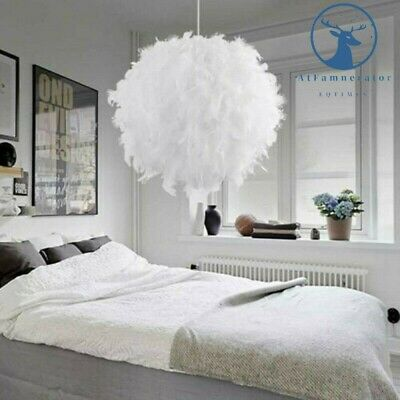 Large Feather Ceiling Chandelier Lamp Shade Bedroom Pendant Light White 30cm • 12.99£