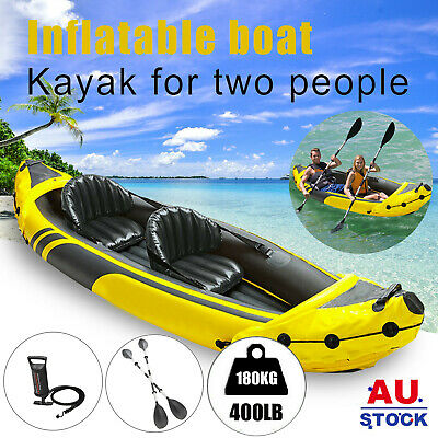 AU225.95 • Buy 2 Person Inflatable Boat Fishing Kayak Dinghy Yacht Raft Seat Boat 2 Paddles AU