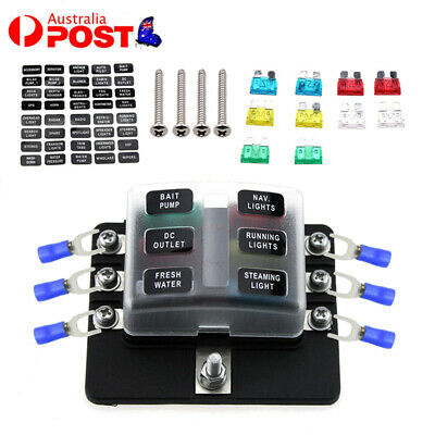 AU18.99 • Buy 6 Way LED Blade Fuse Box With LED Indicators Fuse Holder Boat/Marine/Camper Van