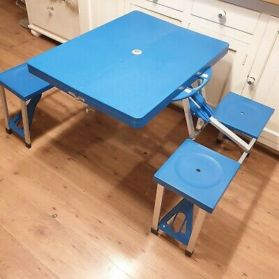 Portable Blue Folding Picnic Table And Camping Chairs  • 49.99£