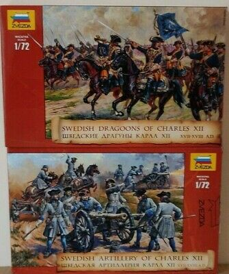 2 Boxes Of Zvezda 'Swedish Charles XII' 1:72 Scale Unpainted Figures  NEW • 18£
