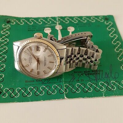 $ CDN5617.23 • Buy W/ Service Papers Rolex Datejust 36 Mm Jubilee Watch 1601 Circa 1965