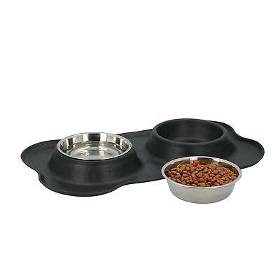 £9.95 • Buy Stainless Steel Double Bowl Non Slip Small Twin Pet Cat Dog Bowl Mat Water Food