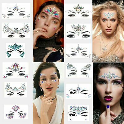 6X Face Gems Adhesive Glitter Jewels Tattoo Stickers Festival Party Body Make Up • 7.99£