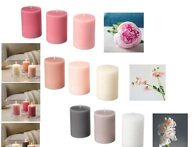 IKEA SCENTED BLOCK CANDLES Lugga & Blomdoft 3pack & FENOMEN Unscented 5pack • 12.95£