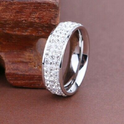 Unisex Mens Ladies Silver Stainless Steel Crystal Wedding Band Size R • 4.99£