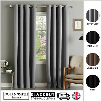 £16.95 • Buy Thermal Blackout Curtains Ready Made Eyelet Ring Top With Free Tie Backs (Pair)