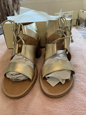 Next Size UK 7 Gold Leather Lace Up Block Heel Sandals. Never Worn • 8£
