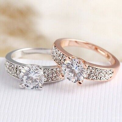 New Ladies Silver Plated Wedding Engagement Crystal Ring Size R • 4.99£