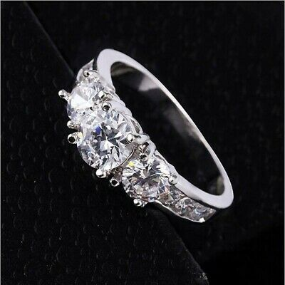 New Ladies Silver Plated Engagement Wedding Eternity Cz Ring Size R • 4.99£