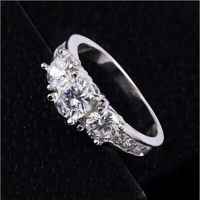 New Ladies Silver Plated Engagement Wedding Eternity Cz Ring Size U • 4.99£