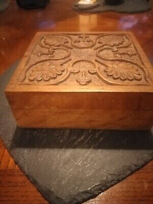 Solid Wood Hand Carved Trinket Box. With Compartments. Hinge Lid • 4.99£