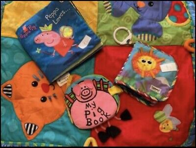 3 Baby Soft Books Peppa Pig / Piggy / Lamaze & Play Mat For Free!Great Condition • 6£