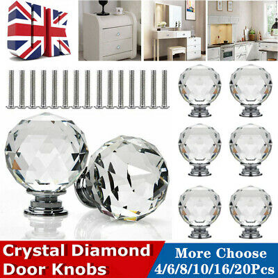 Clear Crystal Diamond Glass Door Knobs Cupboard Drawer Furniture Handle Cabinet • 5.86£