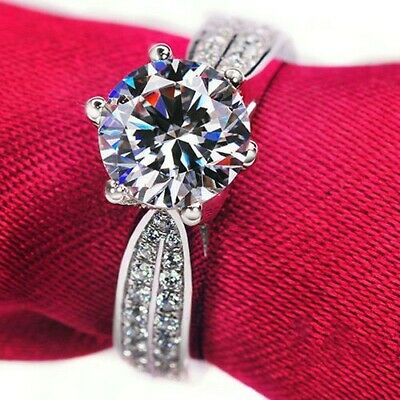 New Ladies 925 Silver Plated Cubic Zirconia Engagement Ring Size R • 6.99£