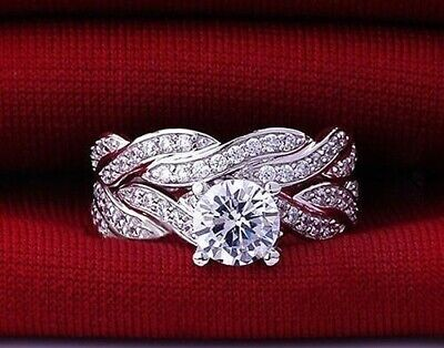 New Ladies 925 Sterling Silver Plated Simulated Diamond Ring Set Size R 1/2 • 9.99£
