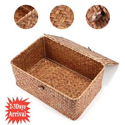 Large Wickers Storage Basket Box With Lid & Lock Woven Wicker Landry Hamper Gift • 8.98£