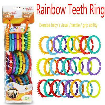 £5.53 • Buy Rainbow Teether Ring Links Plastic Baby Kids Infant Stroller Play Mat Toys.24PC#