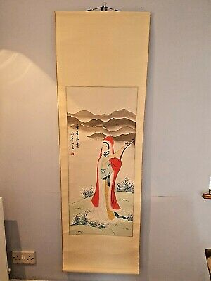 Large Hand Painted Silk Finish Chinese Oriental Geisha With Lute Wall Hanging • 25£