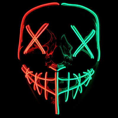 $ CDN17.80 • Buy Halloween Clubbing Light Up LED Mask Costume Rave Cosplay Party Purge 3 Modes