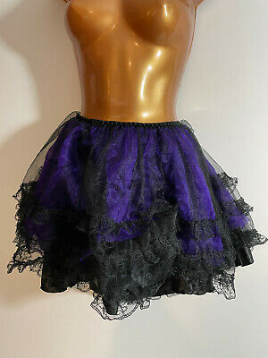 Black Purple Tulle Lace Net Tutu Mini Skirt Size 14 16 Goth Burlesque Cat Girl E • 20£