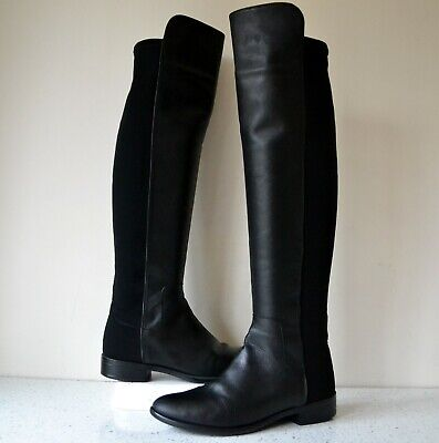 Clarks Caddy Belle Black Leather/stretch Panel Over The Knee Boots Uk 5d Rp£150 • 48£