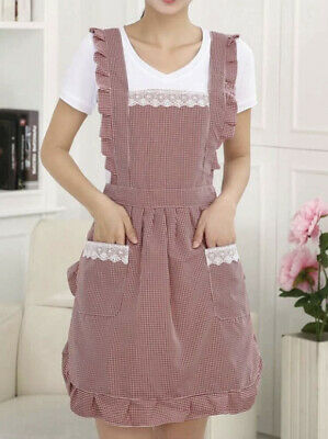 Women's Lady Kitchen Cooking Cleaning Bow Knot Cute Apron With Pockets Ruffle • 7.50£