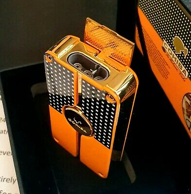 24k Gold Plated Metal Cohiba Lighter Triple Flame 3 Turbo Jet Cigar Punch Gas • 89.99£