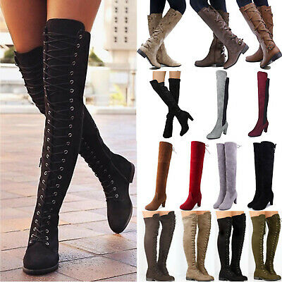 Women's Over The Knee High Riding Boots Lace Up Low High Heel Flat Shoe Size UK • 32.49£