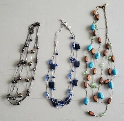 $ CDN24.44 • Buy Lot Beaded 3 Strand Necklace LIA SOPHIA Clair BLUE Glass Aqua Brown Bead Metalic