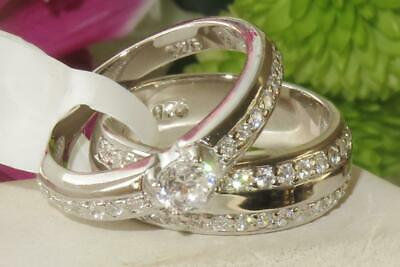 Ladies Ring Set Sterling Silver Engagement Wedding Band Stamped Cz 2pcs New Sz R • 23.99£