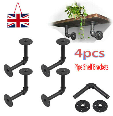 £12.49 • Buy 4pcs Pipe Shelf Brackets Industrial Iron Rustic Wall Floating Shelves Supports