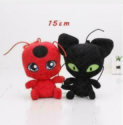 Miraculous Ladybug Kwami Plagg Tikki Adrien Soft Plush Toy Doll Gift 2PCS Set • 8.79£