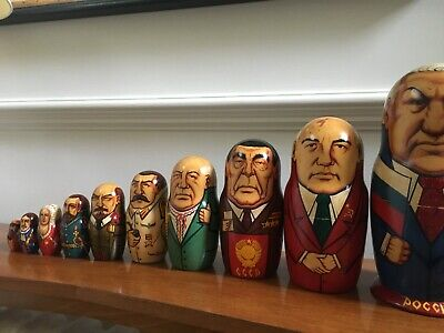 VIntage Set Of 10 Russian Nesting Dolls, Ex Presidents, Wooden, Hand-painted • 49£