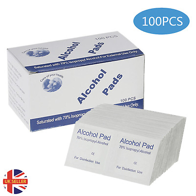 100Pcs Disposable Wipes Alcohol Cotton Pads Nail Cleaner Antimicrobial Swabs  • 4.99£