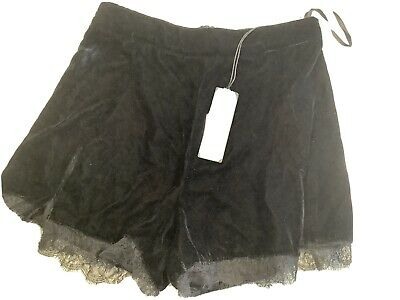 Ladies River Island Black Velvet Shorts With Front Splits And Lace Trim Size 6 • 2.60£