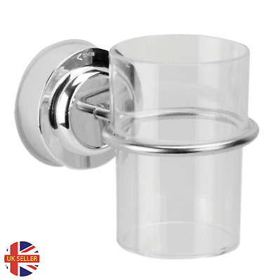 Bathroom Chrome Toothbrush Tumbler Holder With Cup Wall Mounted Suction • 6.99£