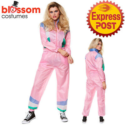 AU35.50 • Buy CA1441 Pink Retro Neon 80's Height Fashion Tracksuit Shell Suit Party Costume