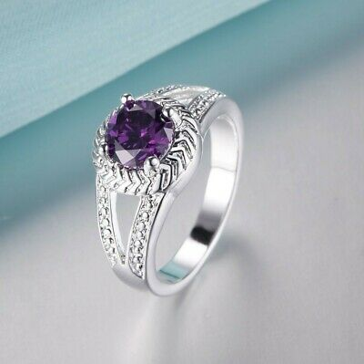 New Ladies  Silver Plated Cubic Zirconia Purple Amethyst Ring  Size M • 4.99£