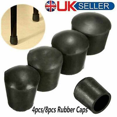 £4.29 • Buy 4/8X Rubber Round Chair Leg Cap Covers Furniture Rubber Feet Protector Pads UK