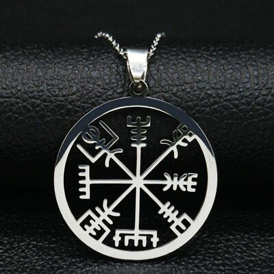 Viking Vegvisir Compass Necklace Stainless Steel Nordic Runes Odin Pendant • 4.99£