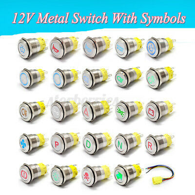 19mm Metal Switch Momentary Latching Horn Push Button Symbol Car Racing Van Boat • 7.79£