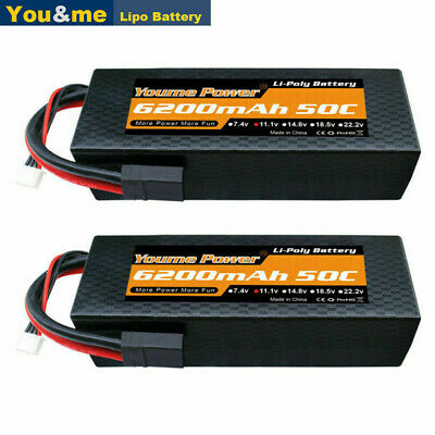 AU96.99 • Buy 2pcs 11.1V 3S 6200mAh LiPo Battery 50C Traxxas Hard Case For RC Car Truck Buggy