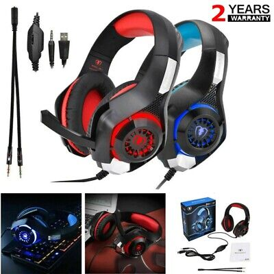 3.5mm Over-Ear Gaming Headphones With Mic Microphone Headset For Computer Laptop • 6.43£