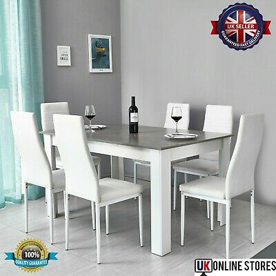 Dining Table And 4 Chairs Set Solid Wooden Home Grey White Kitchen Furniture • 218.36£