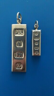 Vintage 1978 Silver Ingot Bar Pendant.. And Small Pendant Dated Year 2000.. • 22.55£